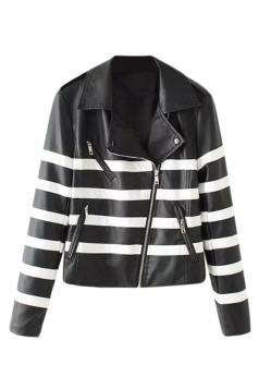 Womens Stylish Notch Lapel Striped Zipper Short Jacket Black