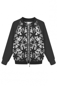 Womens Stand Collar Embroidery Patchwork Jacket Black