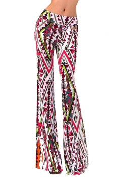 Womens Exotic Printed Flared Palazzo Leisure Pants Rose Red