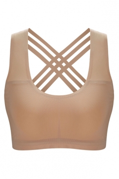 Womens Yoga Ventilate Sports Bra Beige