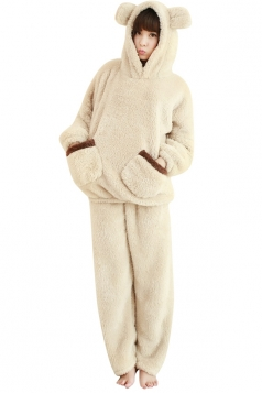 Womens Cute Flannel Hooded Pockets Bear Pajamas Beige White