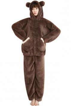 Womens Cute Flannel Hooded Pockets Bear Pajamas Coffee
