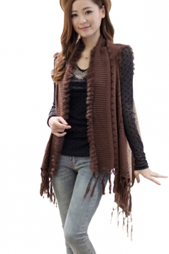 Ladies Fringe Color Blocking Chic Patterned Cardigan Sweater Khaki