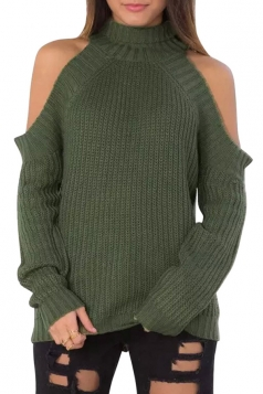 Womens Plain Mock Neck Off Shoulder Pullover Sweater Green