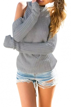 Womens Plain Mock Neck Off Shoulder Pullover Sweater Gray