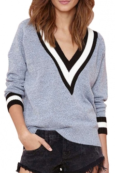 Girls Casual Plus Size V Neck Preppy Chic Knitted Sweater Gray