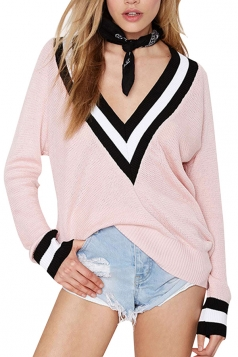 Girls Casual Plus Size V Neck Preppy Chic Knitted Sweater Pink