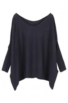 Womens Plain Loose Slash Neck Batwing Sleeve Sweater Black
