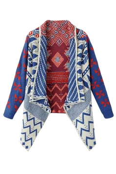 Womens Irregular Geometry Long Sleeve Sweater Coat Sapphire Blue