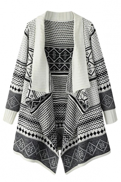Womens Jacquard Knitte Cardigan Sweater Coat White