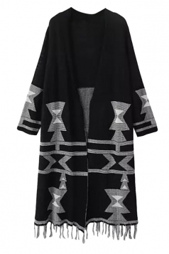 Womens Christmas Tree Printed Fringe Cardigan Sweater Coat Black