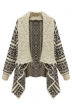 Womens Retro Turndown Collar Geometry Cardigan Sweater Coat Beige