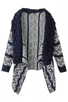 Womens Retro Turndown Collar Geometry Cardigan Sweater Coat Navy Blue