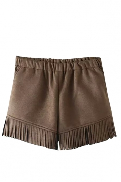 Womens Plain High Waist Fringe Patchwork Mini Short Coffee