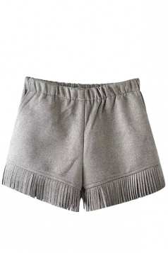 Womens Plain High Waist Fringe Patchwork Mini Short Gray
