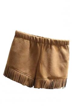 Womens Plain High Waist Fringe Patchwork Mini Short Khaki