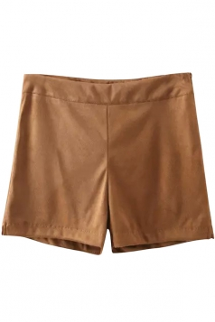 Womens Plain High Waist Side Zipper Mini Short Brown