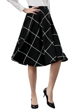 Womens Elegant Plaid Midi Skirt Black
