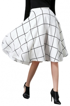 Womens Elegant Plaid Midi Skirt White