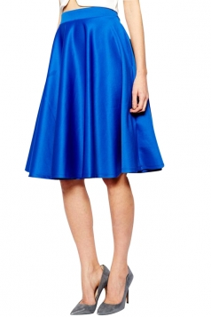 Womens Elegant Metallic Pleated Midi Skirt Blue