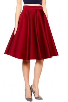 Womens Elegant Metallic Pleated Midi Skirt Red
