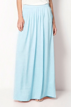Womens Casual Pleated Maxi Skirt Pure Blue