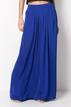 Womens Casual Pleated Maxi Skirt Pure Sapphire Blue