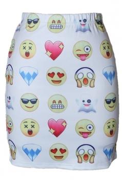 Womens Slimming QQ Emoji Digital Printed Pencil Skirt White