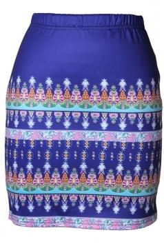 Womens Slimming Exotic Digital Printed Pencil Skirt Blue