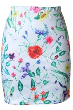 Womens Slimming Flower Printed Pencil Skirt White