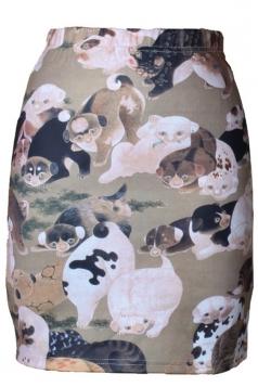 Womens Slimming Dogs Printed Pencil Skirt Khaki