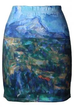 Womens Slimming Painting Digital Printed Pencil Skirt Blue
