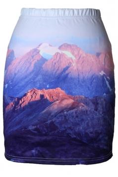 Womens Slimming Mountain Digital Printed Pencil Skirt Blue