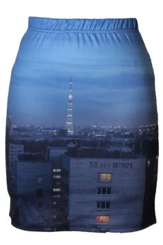 Womens Slimming City Night Digital Printed Pencil Skirt Blue