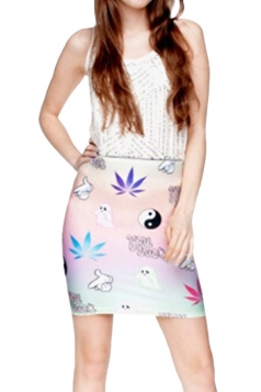 Womens 3D Leaf Printed Straight Bodycon Mini Skirt Pink
