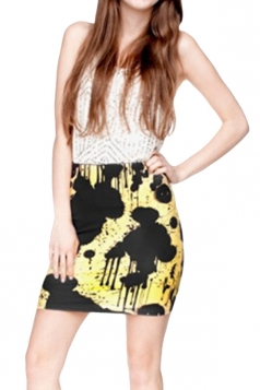 Womens 3D Paint Printed Straight Bodycon Mini Skirt Black
