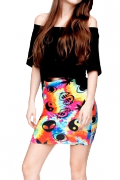 Womens US Dollar Sign Printed Straight Bodycon Mini Skirt Orange