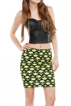 Womens Alien Printed Straight Bodycon Mini Skirt Yellow