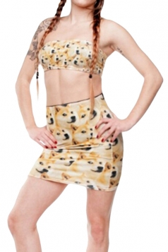 Womens Dogs Printed Straight Bodycon Mini Skirt Yellow