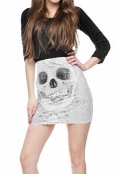 Womens Skull Printed Straight Bodycon Mini Skirt White