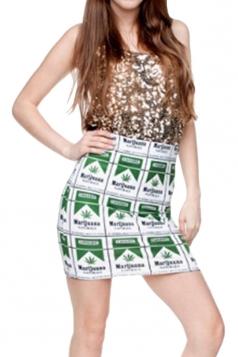 Womens Tribal Printed Straight Bodycon Mini Skirt White