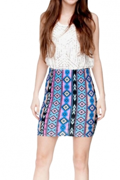 Womens Aztec Printed Straight Bodycon Mini Skirt Blue