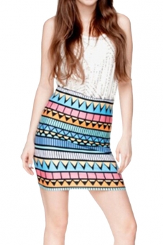 Womens Aztec Printed Bodycon Mini Skirt Blue