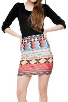 Womens Aztec Print Tight Pencil Mini Skirt Red