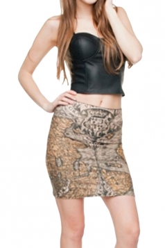 Womens Leopard Printed Pencil Bodycon Mini Skirt Chestnut