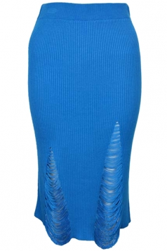 Womens Ripped Bodycon Knee Length Knitted Skirt Blue