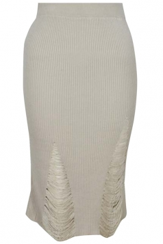 Womens Ripped Bodycon Knee Length Knitted Skirt Beige
