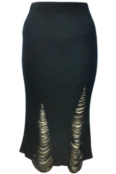 Womens Ripped Bodycon Knee Length Knitted Skirt Black