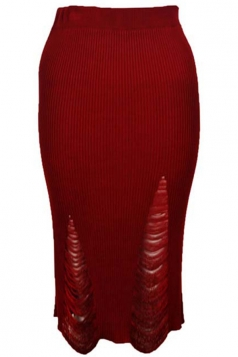 Womens Ripped Bodycon Knee Length Knitted Skirt Red