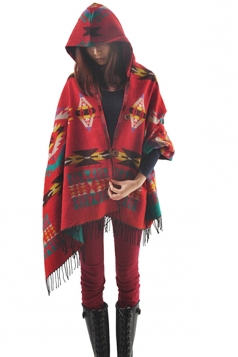 Womens Chic Exotic Pattern Fringe Hooded Shawl Poncho Red